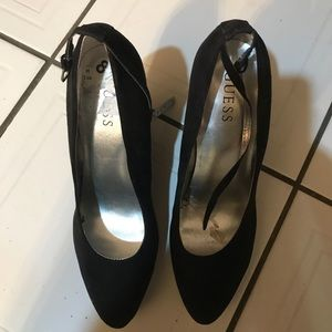 GUESS DRESSY BLACK MAN MADE SUEDE WEDGES PUMPS 8.5